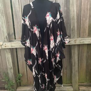 Angie Skull print long kimono